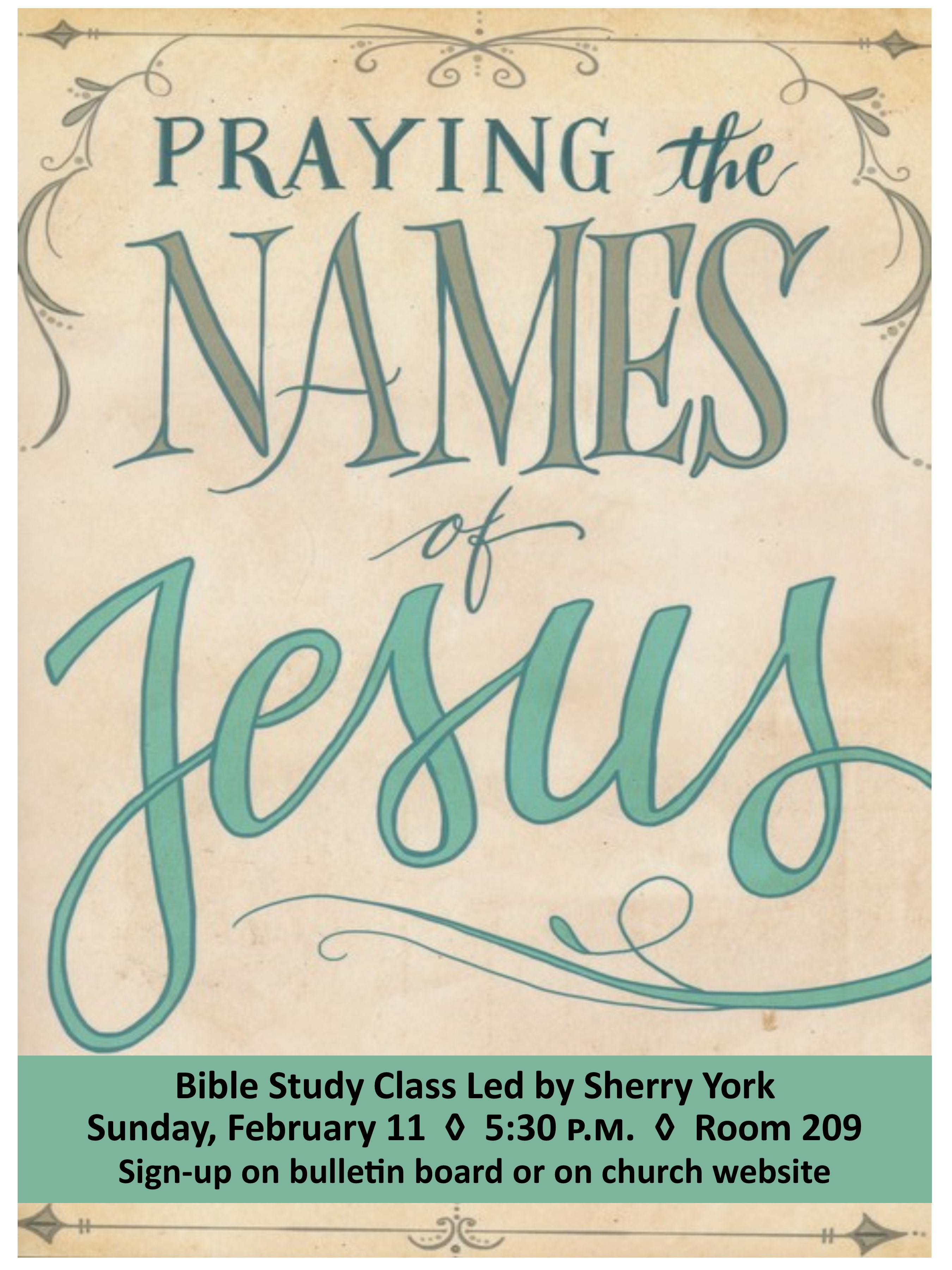 Small poster praying the names of jesus