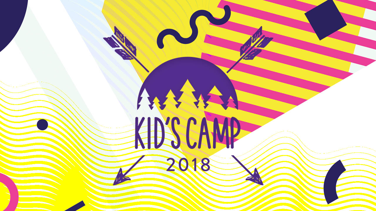 Kids camp background with logo