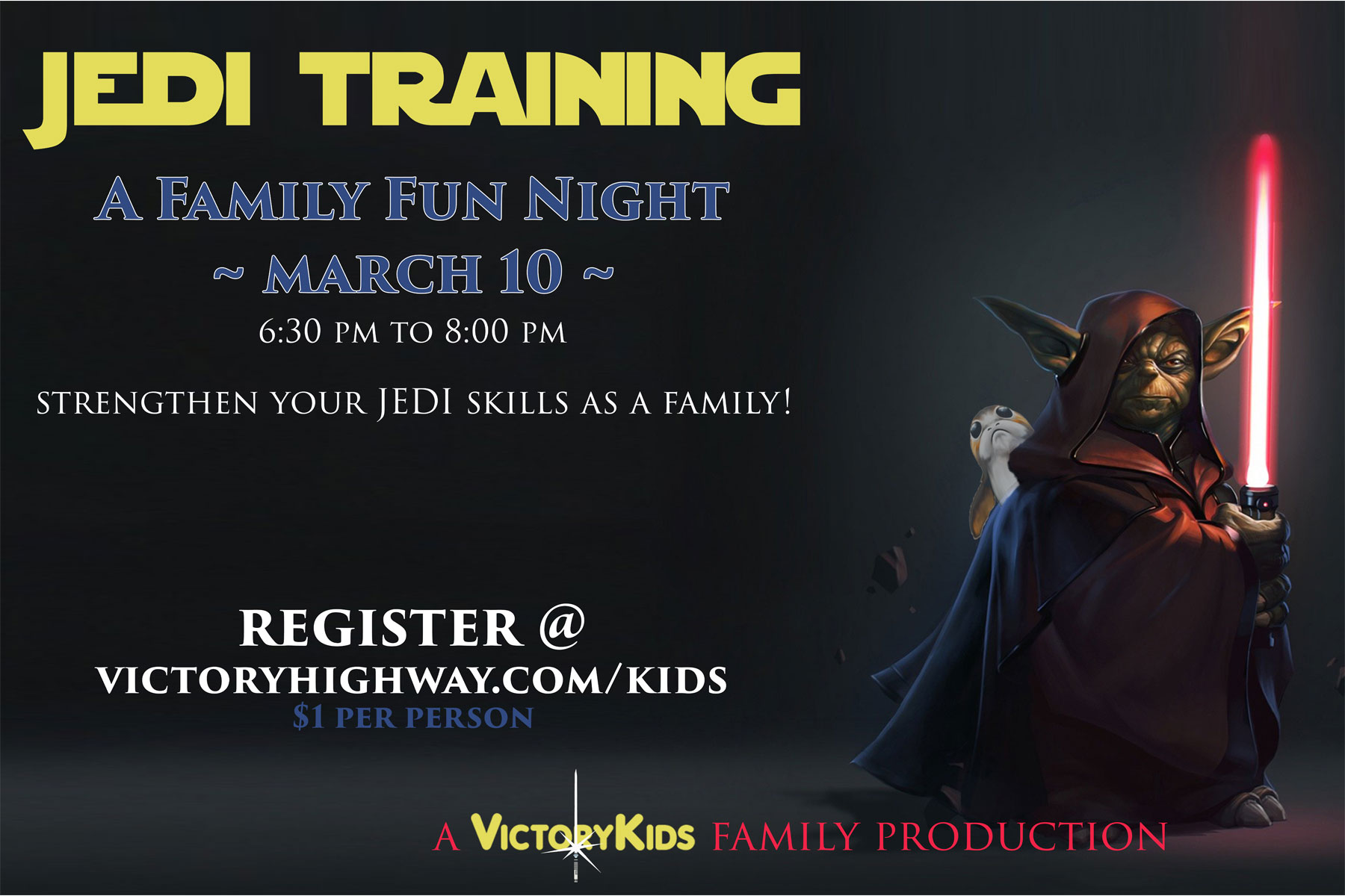 Jedi training frontside post card graphic