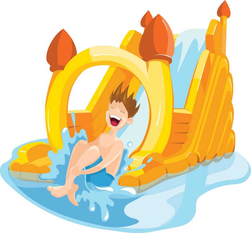 Inflatable castles and childrens hills on playground vector id539023454