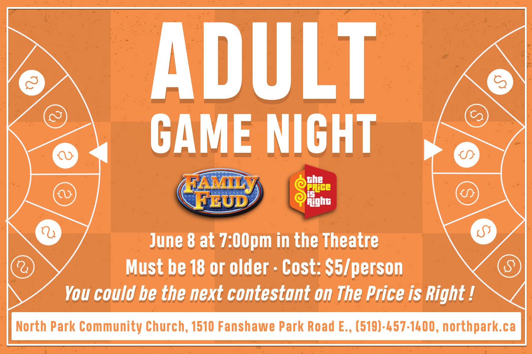 Adult game night   postcard