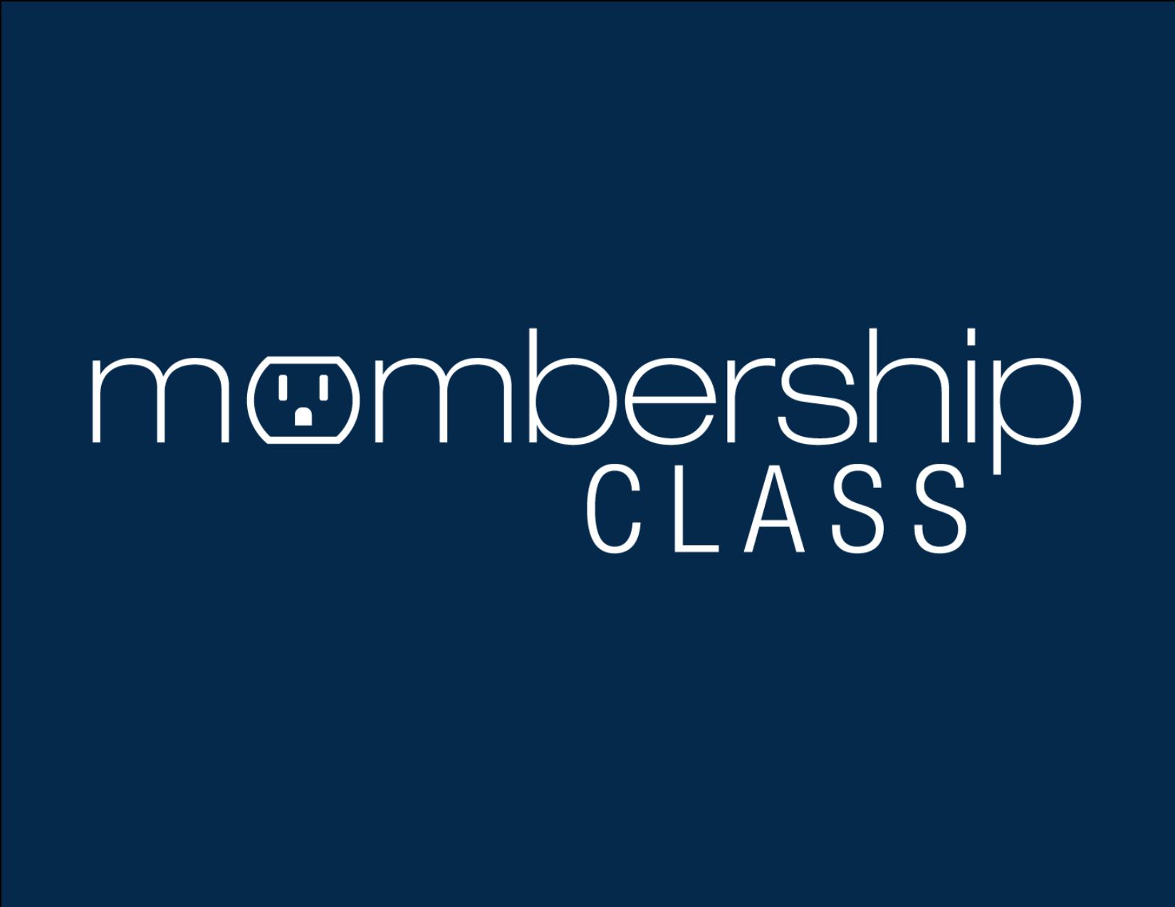 Membership class logo blue background