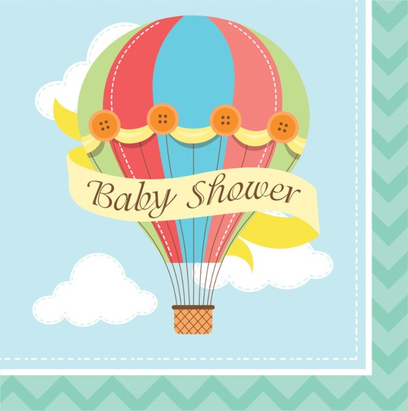 Hot air balloon baby shower lunch napkins