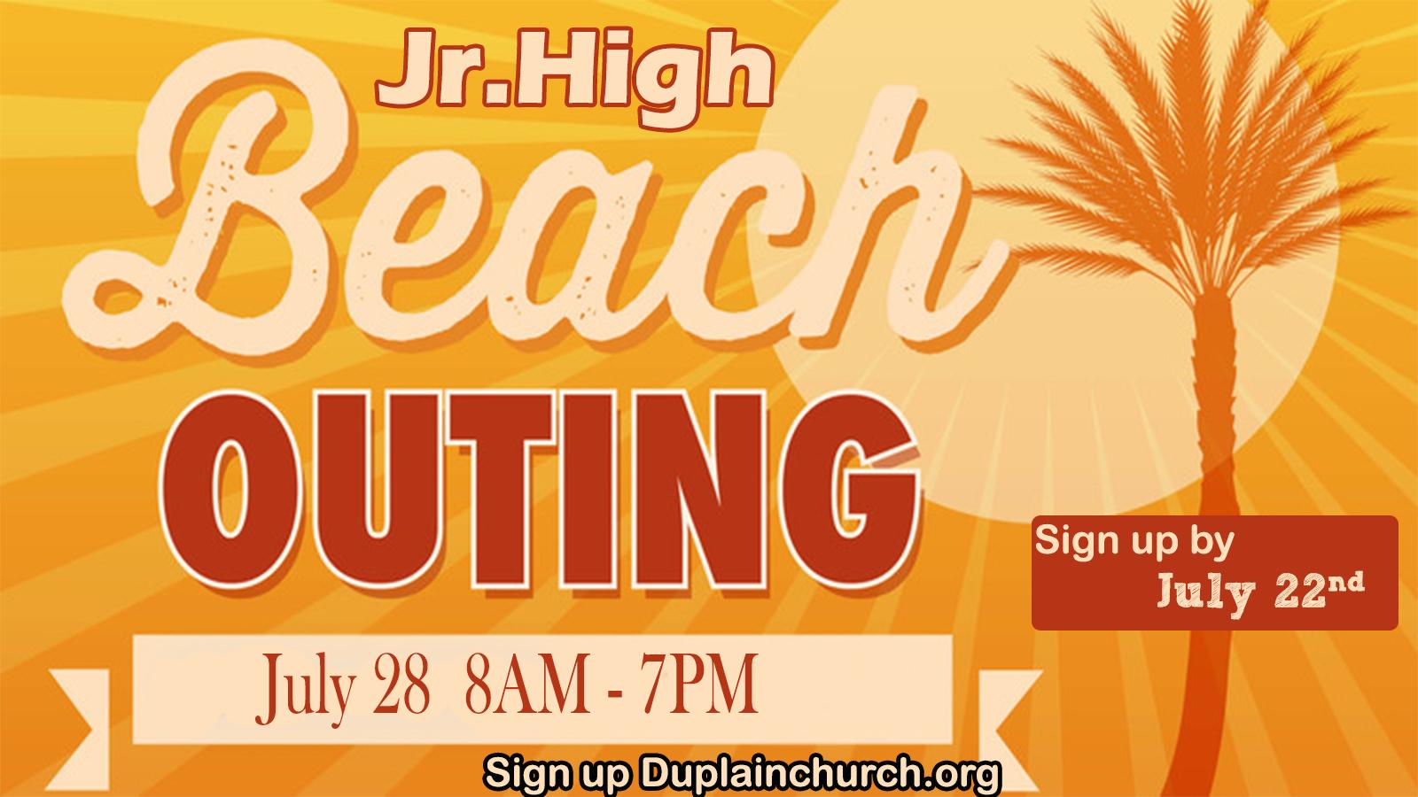Jr. high beach outing 2018