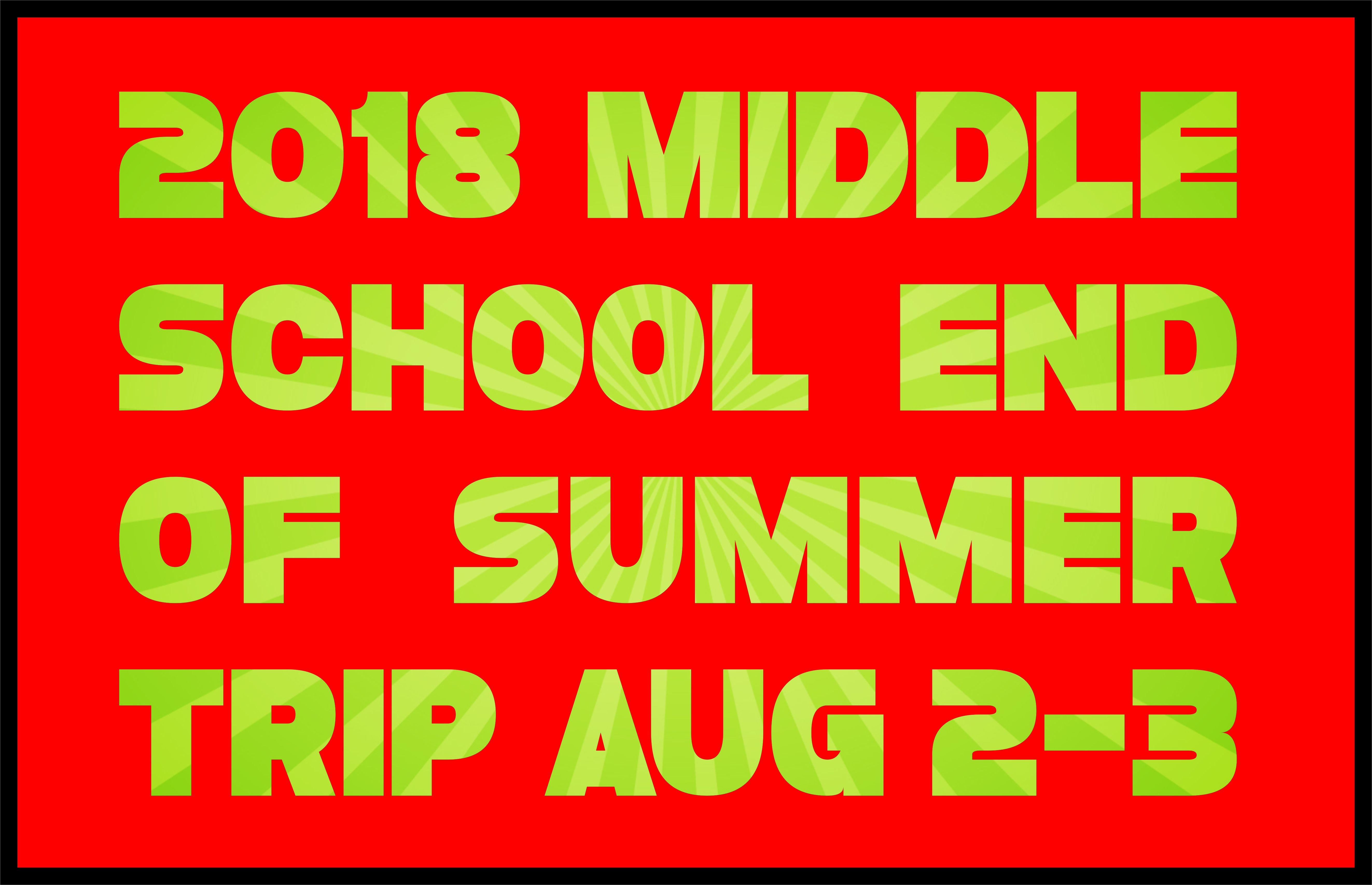 Middle school end of summer