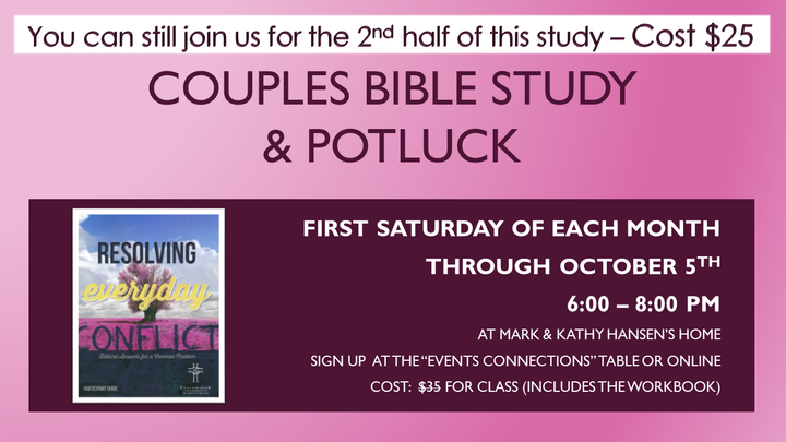 "Couples Study ""Resolving Everyday Conflict"" & Potluck logo image"