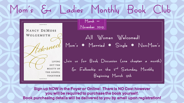 "Mom's & Ladies Book Club ""Adorned"" ~ March - November 2019 logo image"