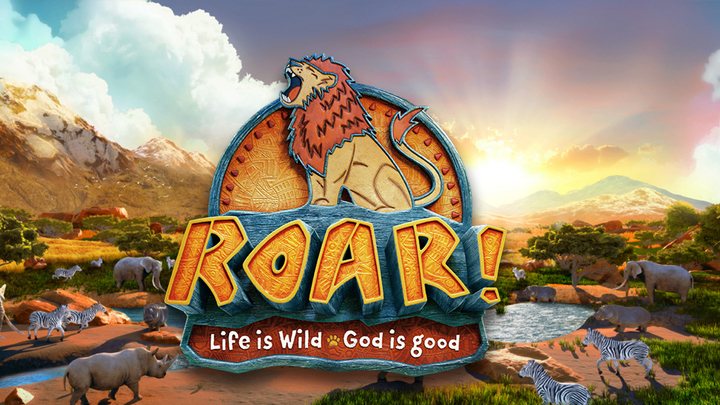 "VBS 2019 ""ROAR! Life is Wild. God is Good"" logo image"