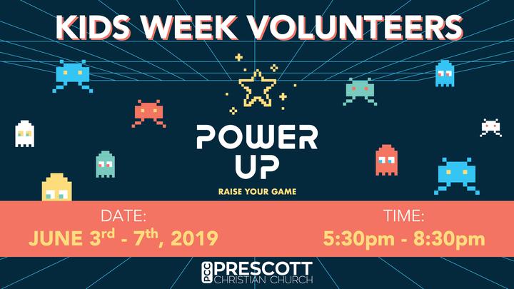 Medium kids week volunteer registration graphic