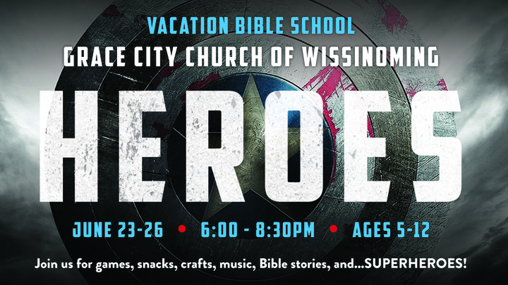 Heroes Vacation Bible School: June 23-26  |  for children ages 5-12  |  FREE logo image