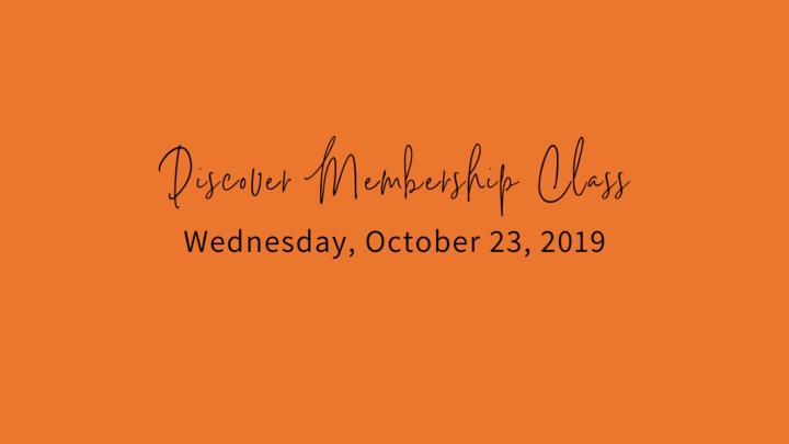 Fall Discover Membership Class, Wednesday, October 23, 2019 logo image