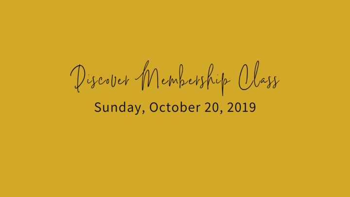 Fall Discover Membership Class, Sunday, October 20, 2019 logo image