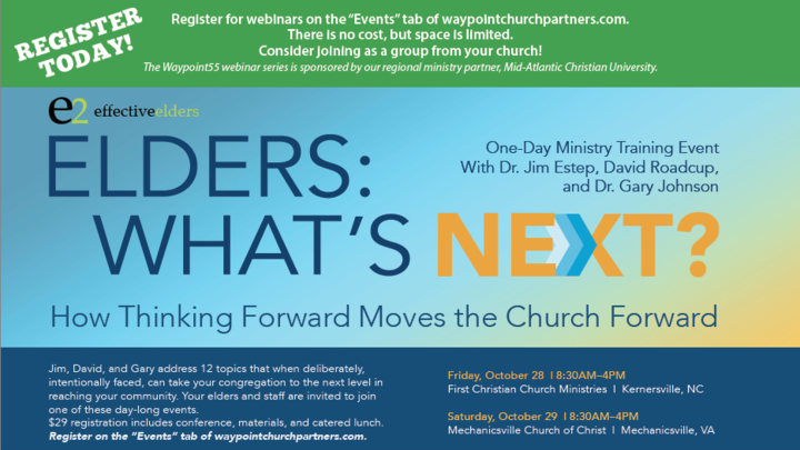 Elders: What's Next? How Thinking Forward Moves the Church Forward (Kernersville, NC). logo image