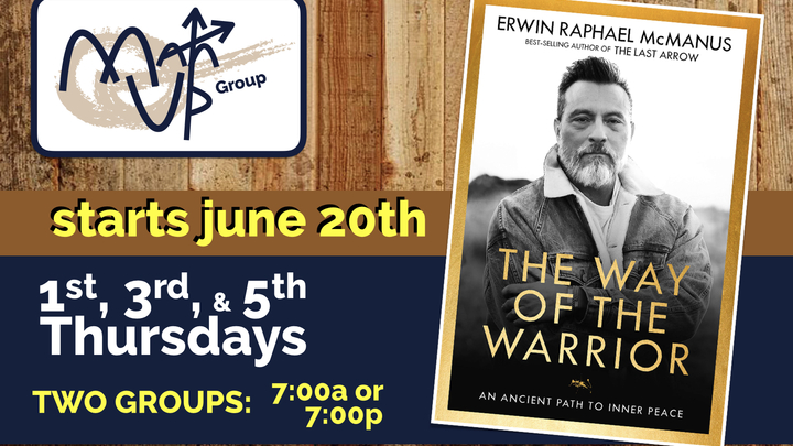 "Man Up Groups: ""The Way of the Warrior"" (Summer 2019) logo image"