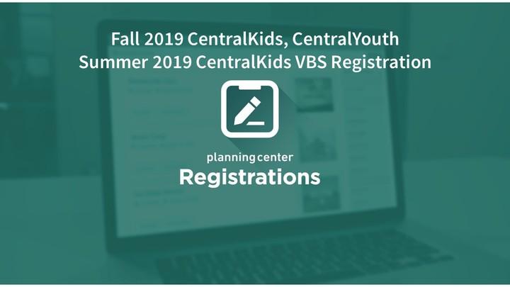 2019-2020 CentralKids, CentralYouth & VBS Registration  logo image