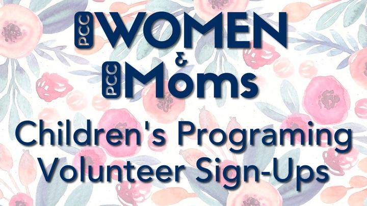 PCC:WOMEN and PCC:MOMS Children's Programming Volunteer Sign Ups logo image