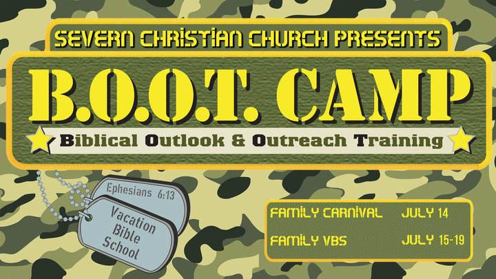 "Vacation Bible School (2019), ""Boot Camp"" logo image"