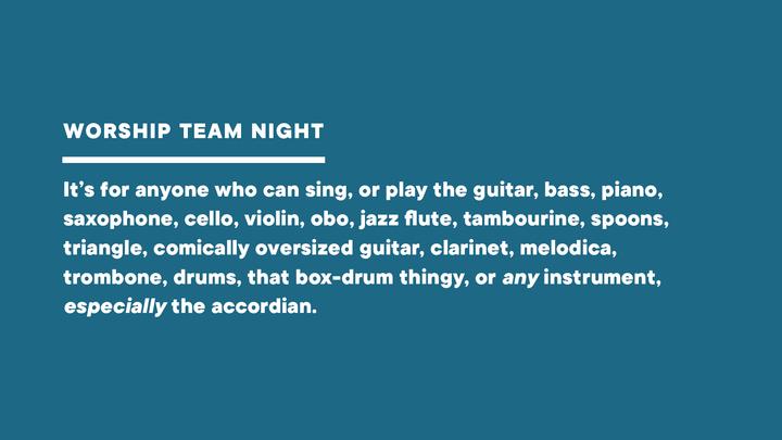 Worship Team Night logo image