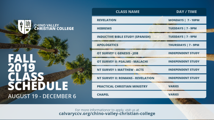 Fall 2019 Christian College Class Registration - CREDIT CLASSES logo image