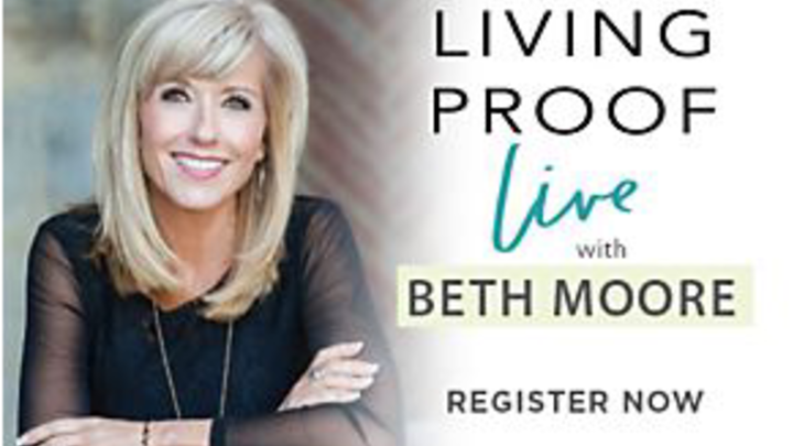 Beth Moore **Living Proof** Simulcast and lunch logo image