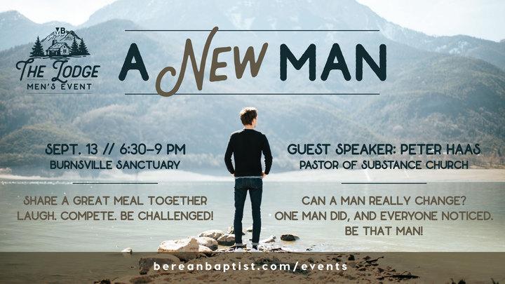 "Men's LODGE Night | ""A New Man!"" logo image"