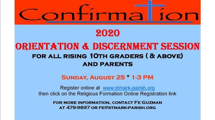 Confirmation 2020 Parents & Candidates Discernment Orientation Session logo image