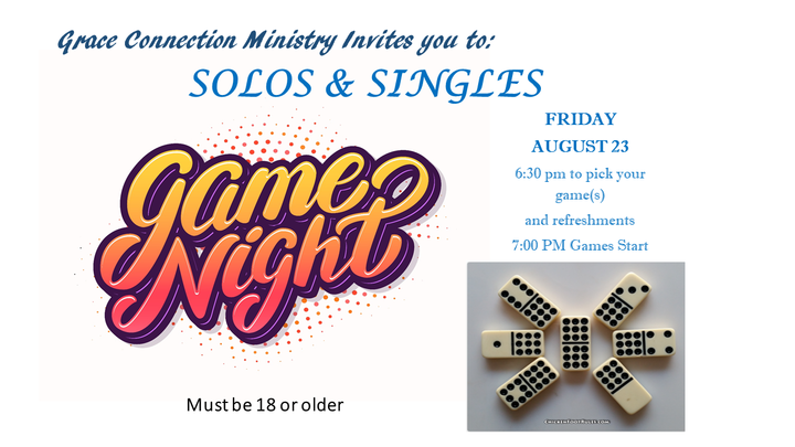 Solo and Singles Game Night logo image