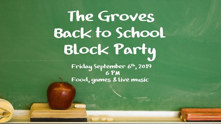 The Groves Back to School Block Party logo image