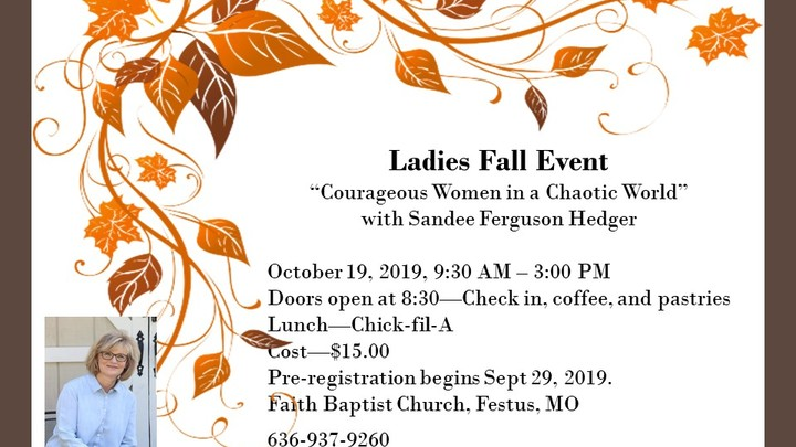 Ladies Fall Event: Courageous Women In A Chaotic World logo image