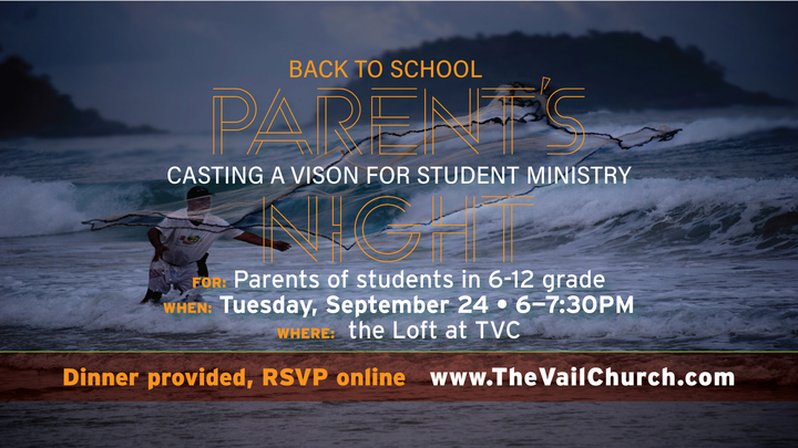 Back to School Student Ministry Parent's Night logo image