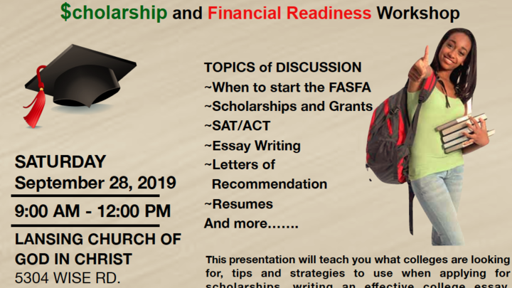 2019 Fall College Scholarship and Financial Readiness Workshop logo image
