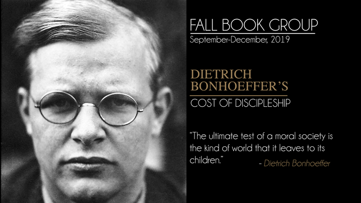 """Book Group - """"Cost of Discipleship"""" by Dietrich Bonhoeffer logo image"""