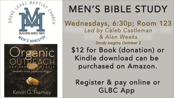 """Men's Bible Study - """"Organic Outreach for Ordinary People: Sharing Good News Naturally"""" logo image"""