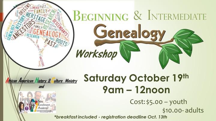 Beginning & Intermediate Genealogy Workshop logo image