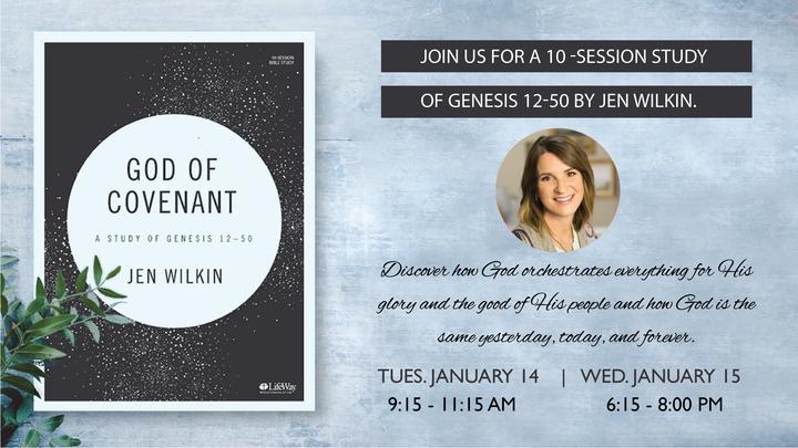 """Women in the Word Winter Study: """"God of Covenant: A Study of Genesis 12-50"""" by Jen Wilken logo image"""