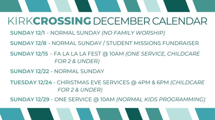 December Worship Schedule logo image