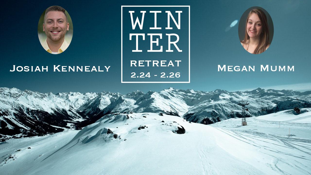 Winter retreat promo slide people
