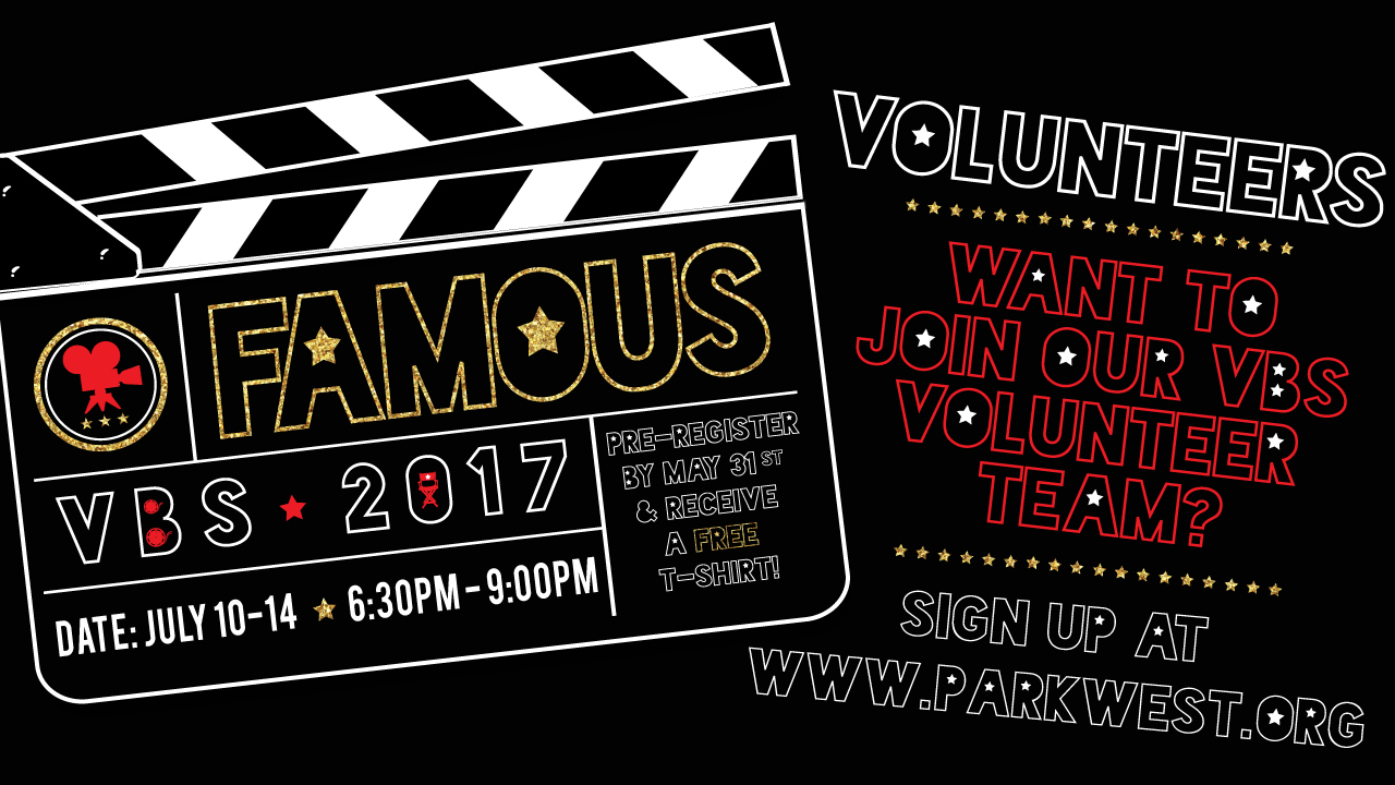 Famous vbs 2017   volunteers  screen announcement