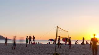 Volleyball players phuket kata beach sunset panorama 4k time lapse thailand evmlpvk6hx  s0000