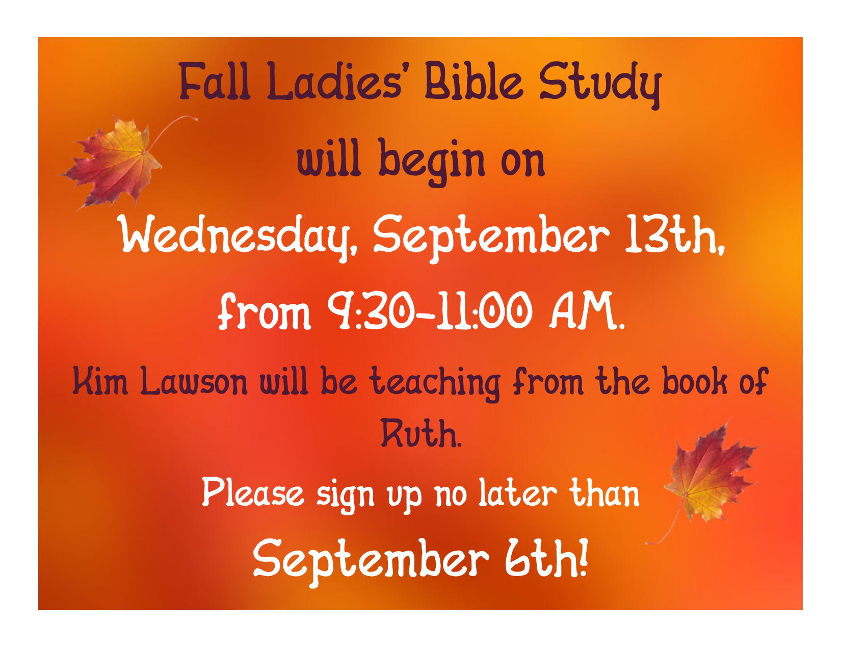 Slide for fall ladies  bible study