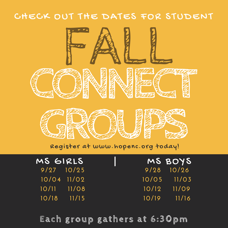 Fall connect group dates