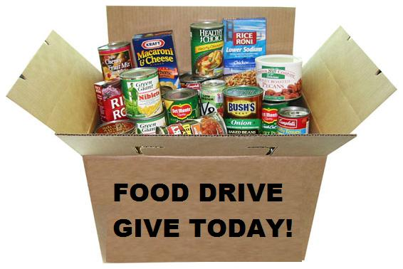 Food drive box of canned goods