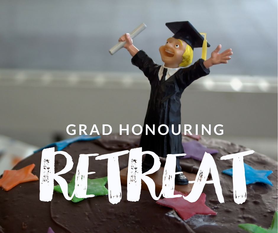 Grad honouring with text