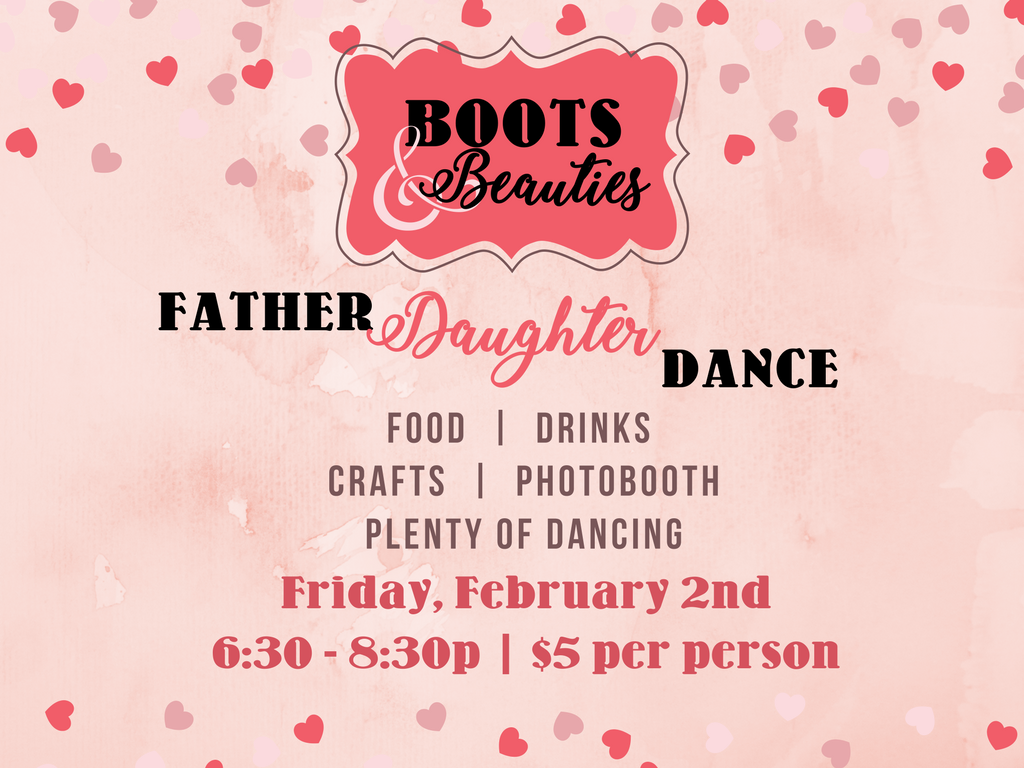 Boots n bling father daughter dance registration graphic
