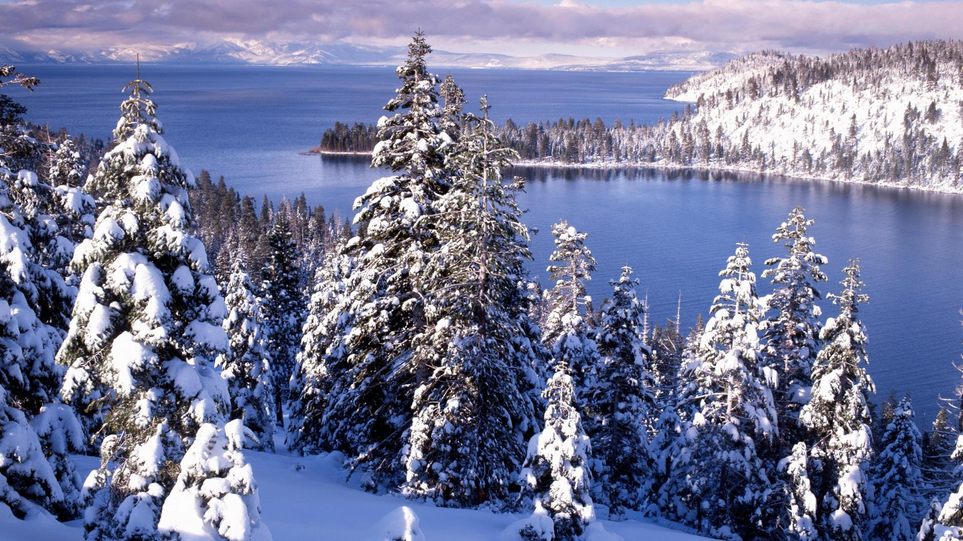 Emerald bay lake tahoe water trees snow hd wallpaper 1621727